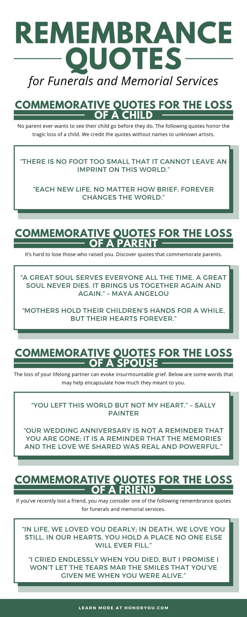 Remembrance Quotes for Funerals and Memorial Services